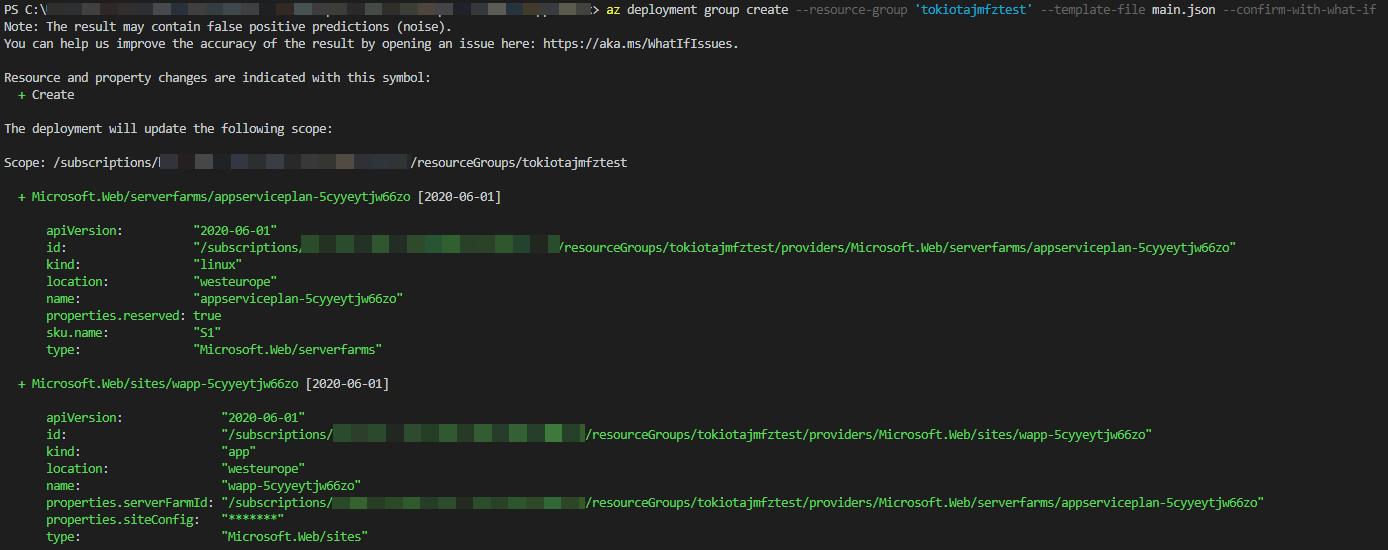 Salida de la build de Bicep en ARM