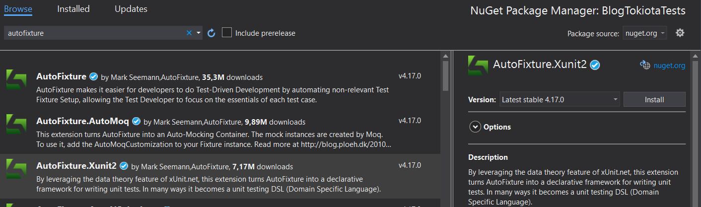 Instalar el paquete nuget AutoFixture.Xunit2
